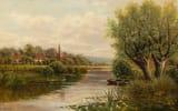 Обои: John Atkinson, река, картина, лодка, пейзаж, дома, небо, деревья, Welsh River