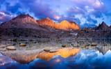 Обои: небо, озеро, закат, горы, отражение