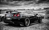 Обои: Nissan Skyline, GT-R, R35, черно-белое, черный, ниссан