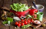 Обои: помидоры, посуда, оливки, Anna Verdina, горох, овощи, черри, масло, перец
