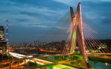 Обои: Sao Paulo, опора, Сан-Паулу, дома, небо, мост, огни, река, облака, хайвэй, вечер, Бразилия