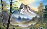Обои: живопись, лес, горы, берёза, река, облака, картина, вода, Bob Ross, деревья, пейзаж, небо, Боб Росс, природа