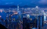 Обои: Китай, освещение, залив, ночь, небоскребы, синее, панорама, Braemar Hill, небо, Victoria Harbour, Гонконг