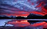 Обои: небо, облака, снег, зарево, горы, озеро