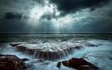 Обои: природа, вода, выдержка, камни, море, скалы, потоки, лучи, волны, свет, океан, тучи, небо
