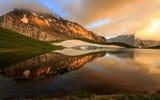 Обои: Греция, Тимфи, озеро, небо, горы, Dragonlake, отражения, Epirus, гора